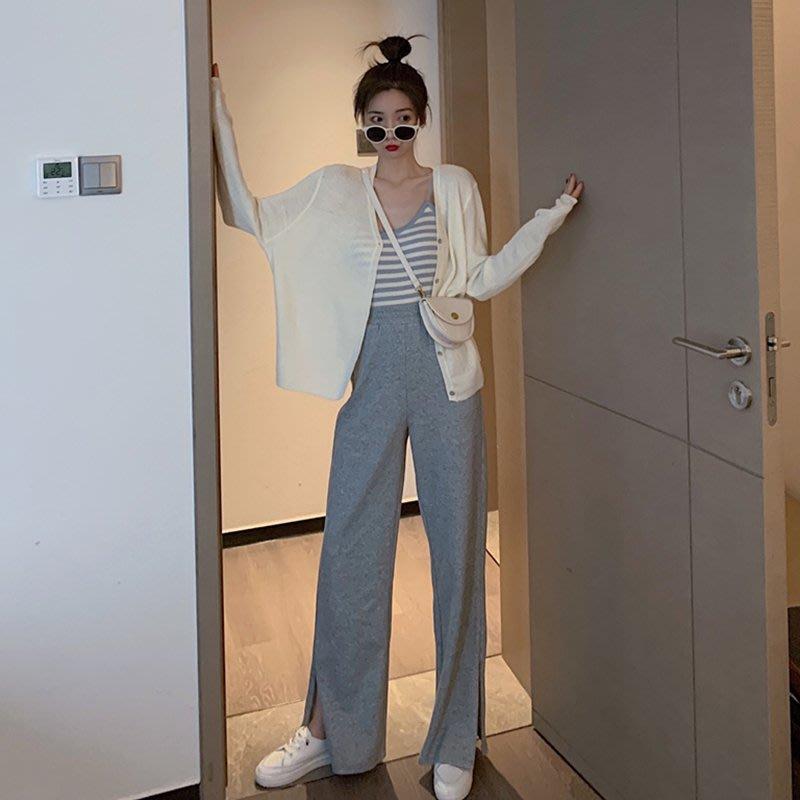 港風套裝女復古chic內搭吊帶+直筒開叉闊腿褲+氣質純色針織外套潮