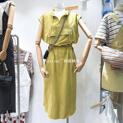 Lifetime~~韓國專櫃韓國2019夏季流行立領抽繩顯瘦工裝連身裙女坎肩中長款背心裙子洋裝洋裝女