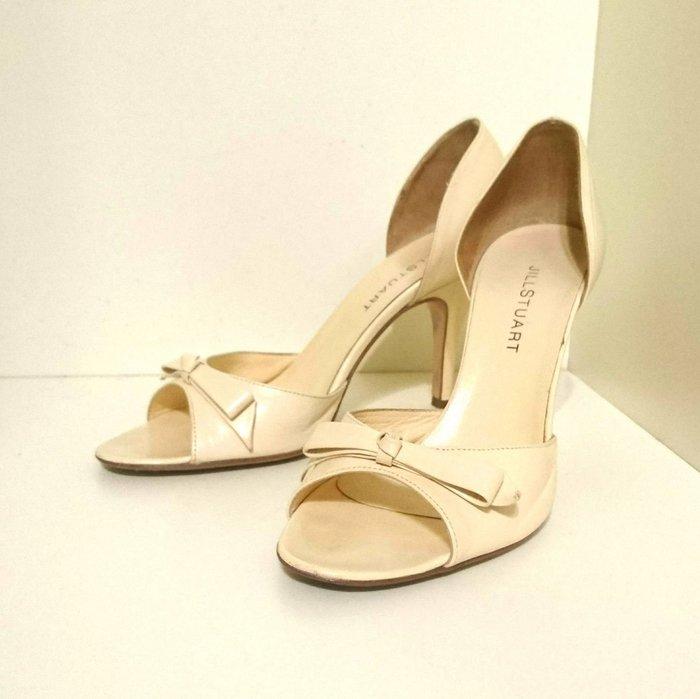 Jill Stuart 全真皮米膚色中高跟鞋 7號(23~23.5公分) 附鞋盒 日本專櫃