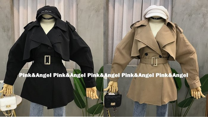 ❤Pink&Angel❤【70090】韓版寬鬆顯瘦ins潮工裝法式復古收腰繫帶西裝風衣外套。2色。現+預