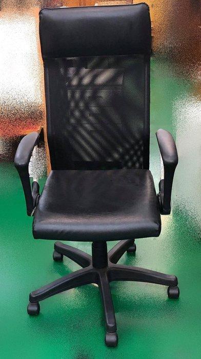 宏品二手家具館 辦公傢俱賣場 F91561*黑皮網椅*書桌椅 電腦椅 主管桌椅 會議椅 洽談椅 業務椅 台中二手家具拍賣