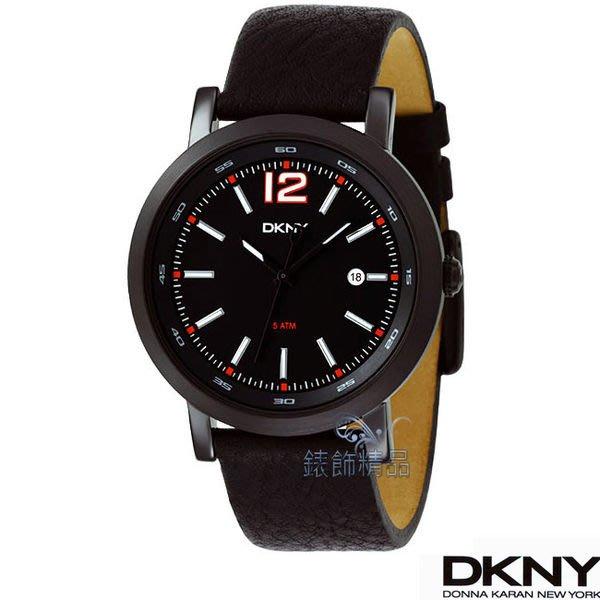 【錶飾精品】DKNY手錶 NY1443 運動型男 紅時標 黑面黑皮帶 日期 男錶