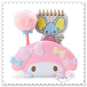 ♥小花花 ♥《Meldoy》美樂蒂 便條本 筆 收納筒 粉色 大臉 趴姿 草莓 蝴蝶結 文具組62026406