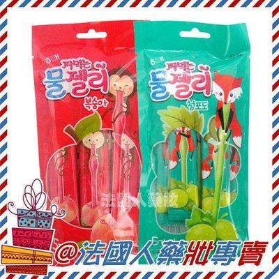 售完@法國人 韓國 HAITAI 海太 白葡萄風味   水蜜桃風味 果凍條 100g(5入) 進口 團購
