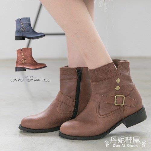 中靴 活潑俏皮素面側V口 全真皮機車靴 馬靴 MIT台灣手工鞋 丹妮鞋屋