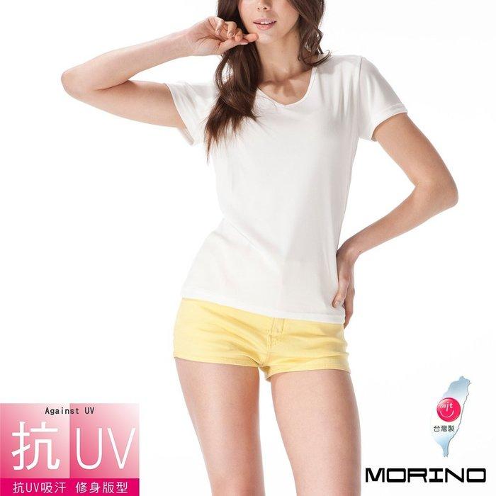 【MORINO摩力諾】抗UV吸排速乾女V領短袖衫/T恤-白色