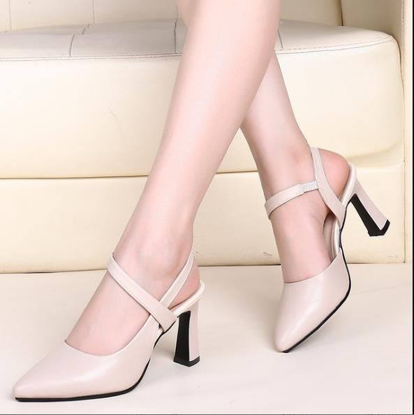 『真皮世家』性感仙女綁帶涼鞋女2020夏季新款真皮包頭尖頭單鞋子細跟高跟鞋