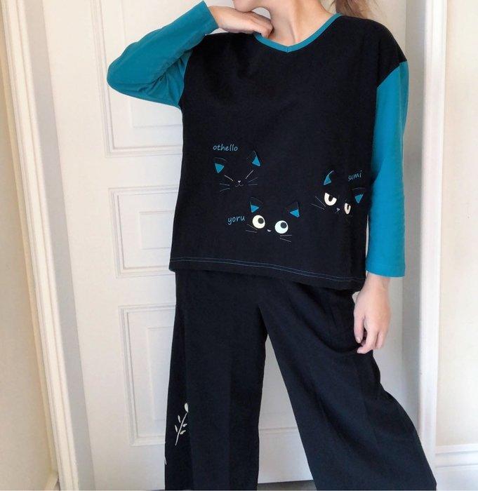 日本卡拉貓~隱形貓咪V領撞色上衣L