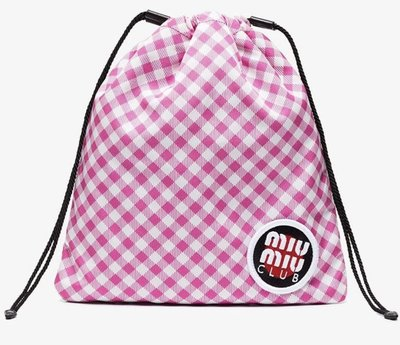 特價Miu Miu Pink Club Patch Gingham Pouch