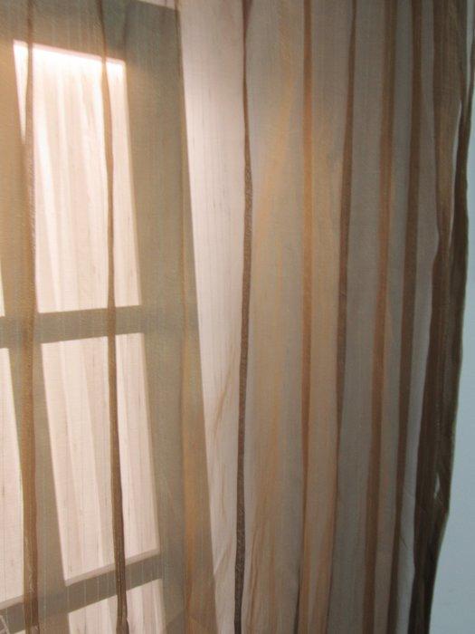 [W074]窗簾 窗紗  No42細條咖啡紗  特價出清  無接縫紗 時尚 簡約