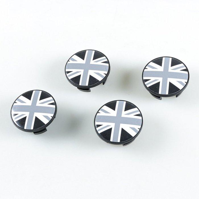 4個黑色聯合傑克英國國旗樣式中心輪圈蓋MINICooperR50R52R53R55R56R57R58R59R60R61