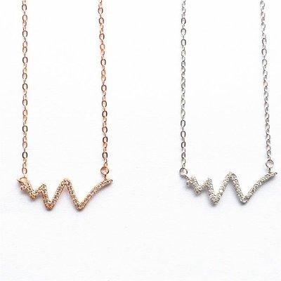 純銀項鏈女時尚日韓國版心電圖閃鉆玫瑰金鎖骨鏈潮簡約首飾品禮物