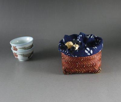 竹編 茶杯簍 杯籠 布袋 便攜 茶具收納盒 置物籃 茶杯架子 B149