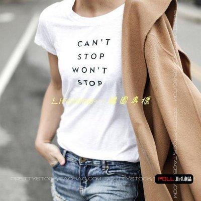 Lifetime~~韓國專櫃百搭休閒簡約字母cant stop印花打底短袖bf風t恤女夏裝新款2019ss