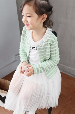 【Mr. Soar】**清倉** E408 秋季新款 韓國style童裝女童綠色圓領造型小外套 現貨