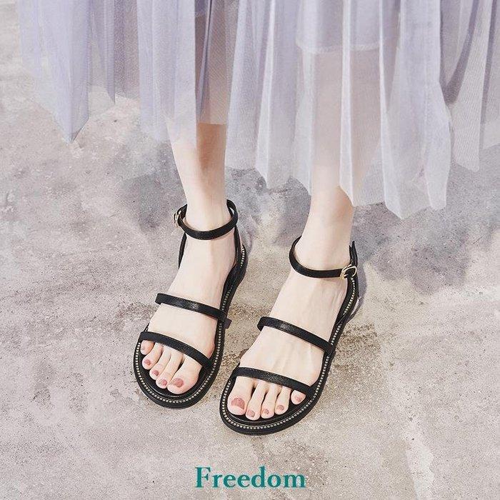 Freedom女鞋晚晚風溫柔平底涼鞋女2019夏季新款學生沙灘搭裙子洋裝的羅馬百搭女鞋