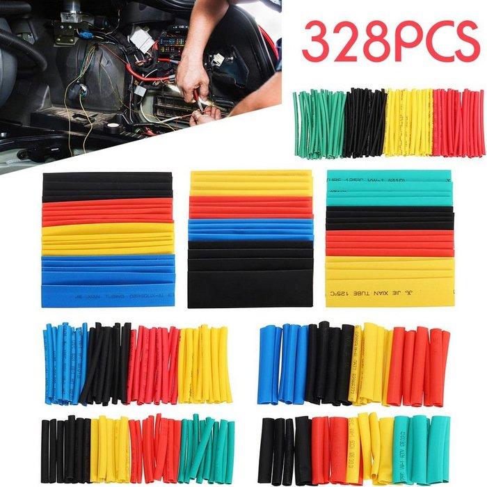 328pcs彩色熱縮管袋裝電線絕緣阻燃管 熱縮絕緣套管