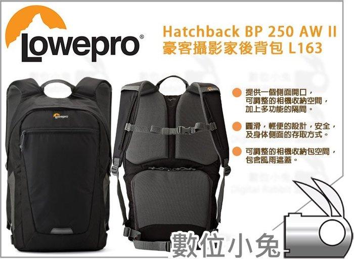 數位小兔【Lowepro Hatchback BP 250 AW II 豪客攝影家相機包 L163】雙肩包 攝影包 收納