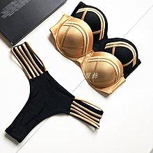 發發潮流服飾新款棕色拼接帶鋼圈比基尼分體游泳衣多繩鏤空丁字褲聚攏抹胸泳裝