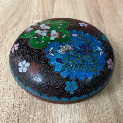 [輕·古物]銅胎景泰藍 掐絲琺瑯花卉首飾盒飾品盒 珍稀少見C0003