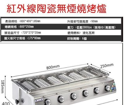 現貨 可刷卡 無煙燒烤爐  營業用 六管 下火 不鏽鋼烤爐 紅外線燒烤爐 烤肉爐 全新非二手【代購】