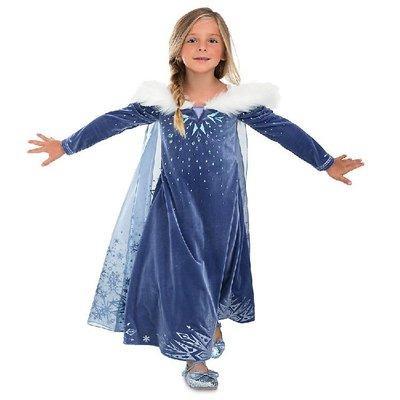 •*~ 辣媽咪衣飾小舖 ~*•❤童裝系列❤Y970877韓版大童冬款加絨加厚冰雪奇緣艾莎公主洋氣長袖洋裝(披風+魔法棒)