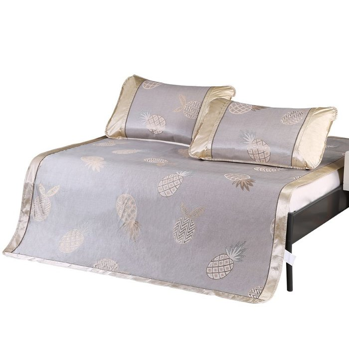 創意 夏季必備寢具冰絲席涼席三件套 1.5米 1.8m床竹藤涼席雙人席子加厚草席折疊