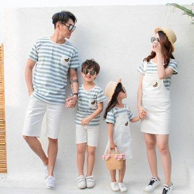 哆啦本鋪 親子裝夏裝韓國親子裝短袖背帶條紋套裝一家三口家庭服裝 D655