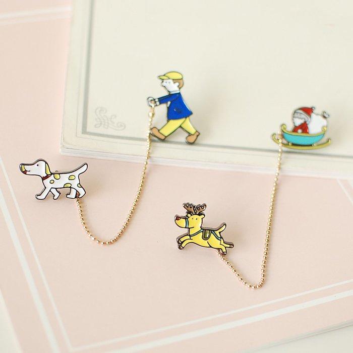 【里樂@ LeaThER】日系 鏈條胸針 別針 徽章 聖誕老人 麋鹿 溜狗 巧