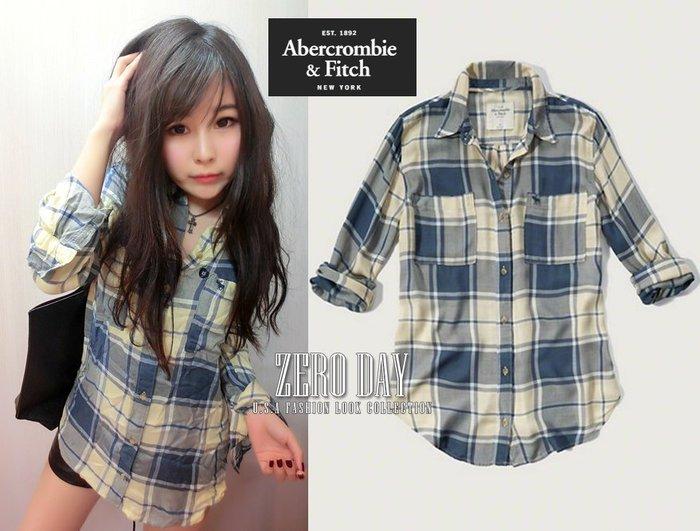 【零時差美國時尚網】A&F Abercrombie&Fitch Drapey Plaid Shirt薄款格紋襯衫外套黃色