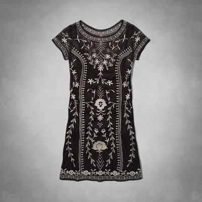 Maple麋鹿小舖 Abercrombie&Fitch * AF 黑色電繡花花圖樣洋裝*( 現貨M號 )