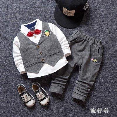 男童禮服 紳士馬甲襯衫三件套春款英倫小西裝寶寶禮服套裝潮 BF22587