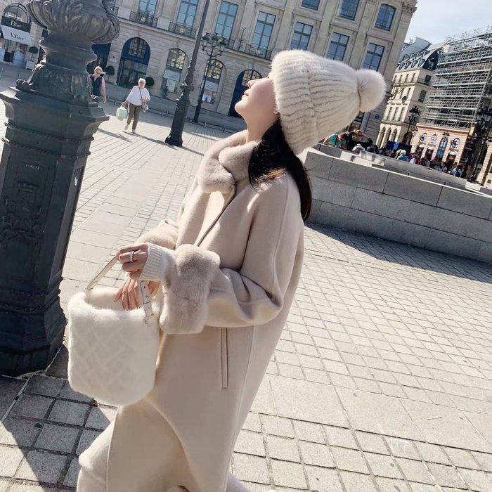 ❤JM SHOP韓風❤奢華品質獺兔毛領全羊毛雙面呢大衣