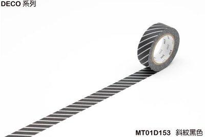 《MT和紙膠帶MT01D153》DECO系列的 斜紋黑色(15mm),日本手作膠帶裝飾手帳相本、卡片筆記