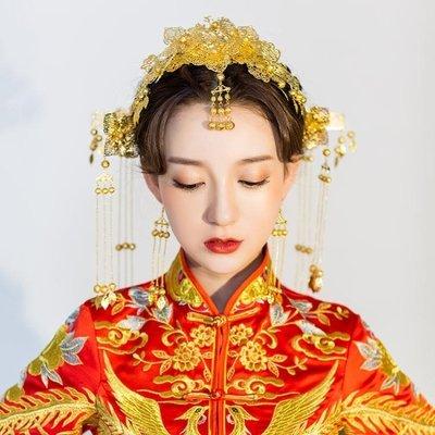 新娘古裝頭飾眉心墜結婚秀禾服龍鳳褂中式...