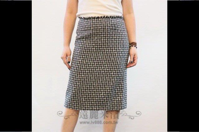 【遠麗】台北大安店~G0718 chanel 黑白 小格 毛呢料 兩片 中短 裙 真品/正品 現貨