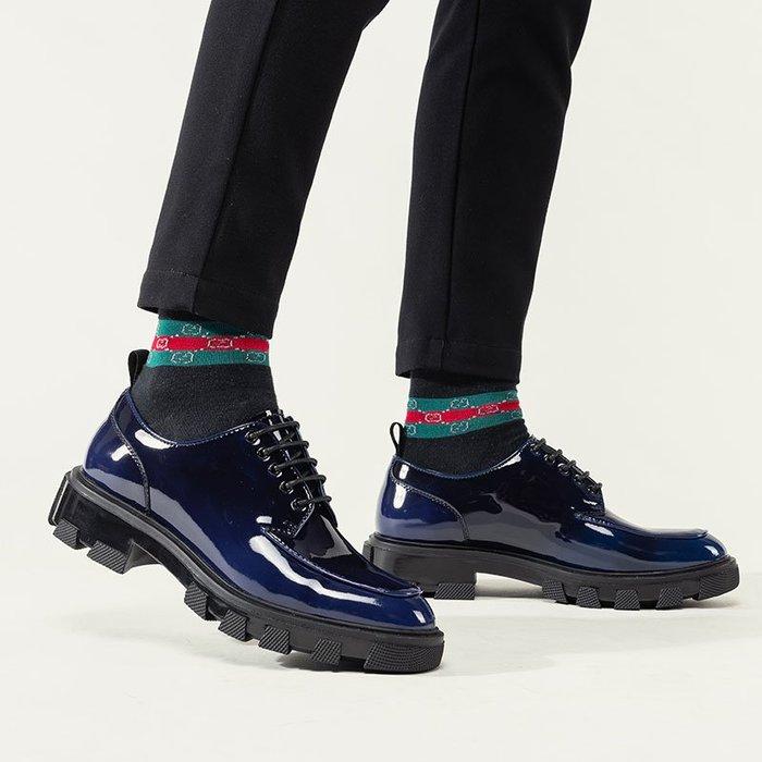 **蛻變英倫**韓國限定版連線熱賣高品質訂製歐美頂級款獨創搖滾2020新款漸變擦色皮鞋男厚底時尚復古增高男士潮流休閒皮鞋