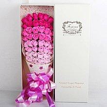 51朵香皂花束禮盒,不凋謝的玫瑰花-粉紅色漸層玫瑰款