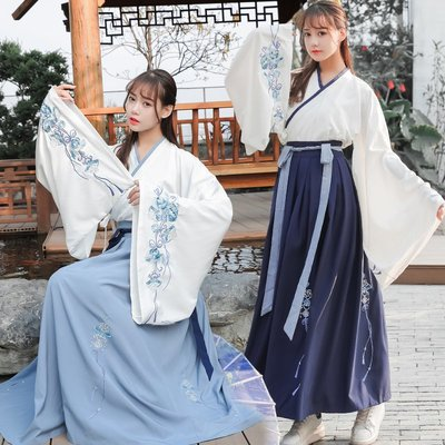 壹月☀青花瓷大袖衫日常改良漢服女交領齊腰襦裙古裝學生套裝夏