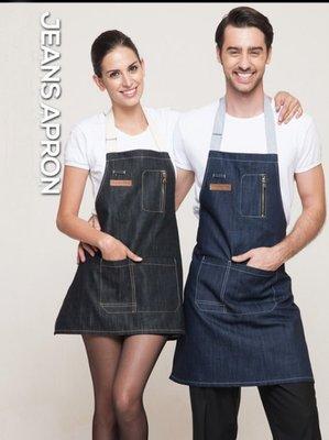 時尚牛仔圍裙咖啡西餐廳烘焙韓版牛仔工作圍裙