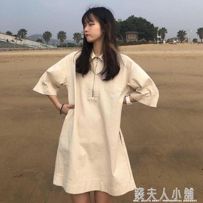 韓版很仙的清新洋裝女小眾襯衫裙錢夫人小鋪