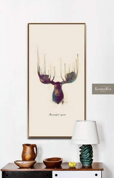 【 LondonEYE 】小法國系列-春日派對X自由之鹿 法式浪漫手繪風格X細邊框裝飾畫 套組優惠 樣品屋/豪宅PT99