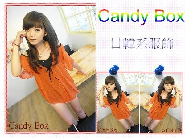 ☆Candy Box☆點點肩洞假兩件式上衣 橘紅 S2321603