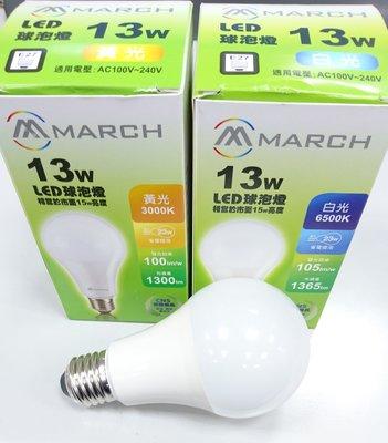 MARCH LED 燈泡 球泡燈 E27 13W (3000K黃光/4000K自然光/6500K白光) 全電壓