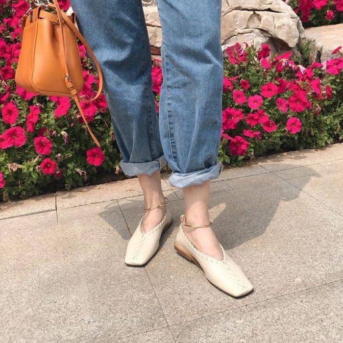 【鳳眼夫人】早秋自製訂製款 2色 復古韓系簡約方頭編織鐵環腳鍊設計淺口休閒百搭平底鞋 仙女鞋學生小皮鞋奶奶鞋方頭鞋森女系