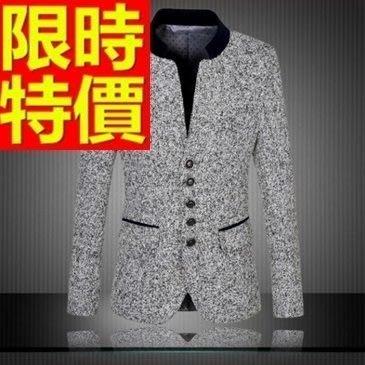 中山裝 唐裝 男外套-混色休閒修身男西裝外套65e6[獨家進口][米蘭精品]
