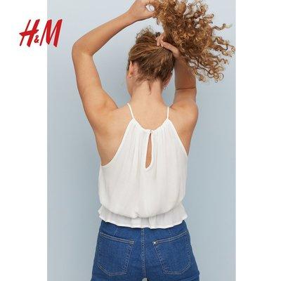 HM DIVIDED女裝吊帶蕾絲上衣女2019新品洋氣無袖T卹0723173(350)