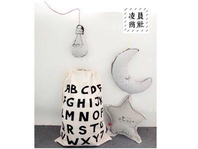 凌晨商社 //北歐 黑白簡約設計 可愛  兒童房間 玩具收納 拉繩帆布袋  英文字母款下標區