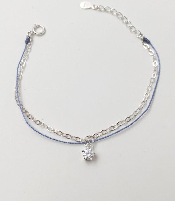[Le Bonheur Line] 幸福線 手工/鏈繩款 925純銀 五爪鑽 /紅線 手鍊 飾品 設計 華麗 高貴 星