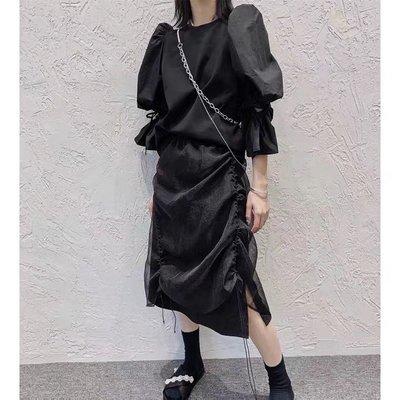 黑色半身裙 2021新款喇叭袖襯衣高腰半身裙 賣場2件9折3件8折特價無折